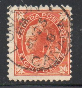 Canada Sc 72 1897  8c orange Victoria Maple Leaf stamp used