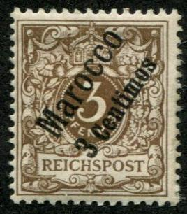 Germany Offices Morocco SC# 1 o/p 3c on 3pf Mint hinged