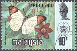 Malaysia - Trengganu # 100b used ~ 10¢ Butterfly, photogravure