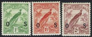 NEW GUINEA 1931 DATED BIRD OS 1D 11/2D AND 2D