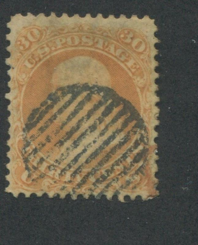 1861 US Stamp #71 30c Used Grid Canceled F/VF Catalogue Value $200