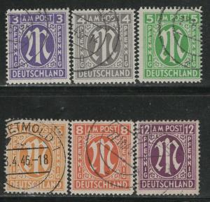 Germany AM Post Scott # 3N2b - 3N8b, used, cpl. set