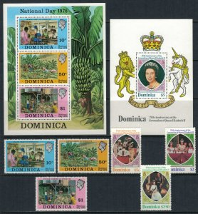 Dominica #510-2a,570-3* NH  CV $3.80  2 sets & Souvenir sheets