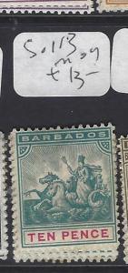 BARBADOS  (PP1610B)  SEAHORSE   10D   SG 113   MOG