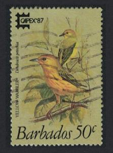Barbados Yellow Warbler Bird 'Capex 87' 1v 50c canc SG#837