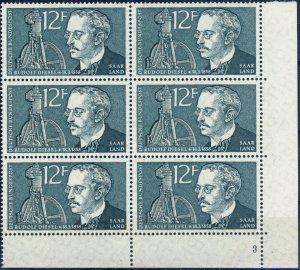 SARRE / SAARGEBIET - 1958 Mi.432 12fr Rudolf Diesel - Plate Nr.3 Block of 6 **