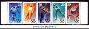 UNITED STATES USA - 1993 WINTER OLYMPIC GAMES - SE-TENANT 5V STRIP MNH