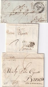 ITALY POSTAL HISTORY 3 TINY STAMPLESS SFL WITH CORRESPONDENCE #1