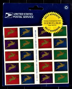 US 3363a MNH VF/XF 33 Cent Deer Full Booklet Pane Wide Frame of 20 Stamps Sealed