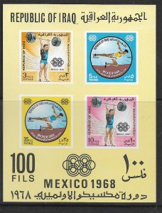 IRAQ, UNLISTED 503A, MNH, S.S OF 4, MEXICO 1968