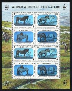 Mongolia 2000 WWF Horses Hologram MNH Souvenir Sheet 2441