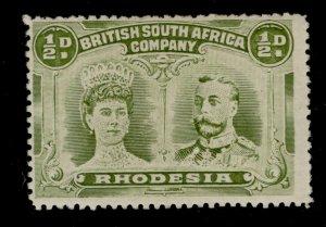 RHODESIA GV SG121, ½d olive-green, LH MINT. Cat £45.
