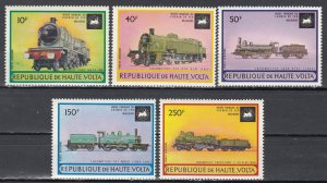 Burkina Faso, Sc C154-C158, MNH, 1973, Locomotives