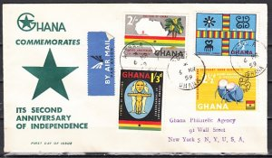 Ghana, Scott cat. 42-45. Independence issue. Musician. First day cover. ^