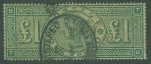 Great Britain SC#124 Queen Victoria, 1£  green sm thin, Used