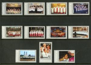 NICARAGUA 997-1003, C887-C890 MNH SCV $3.60 BIN $1.80 MUSIC, RELIGION