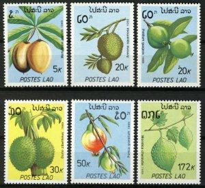 Laos 1989, Fruits, plants, nuts Full set 6v MNH