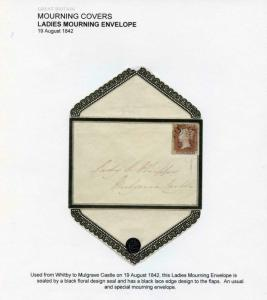 1842 Mourning Envelope with Four Margin 1841 Penny Red