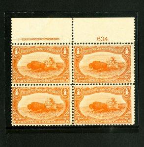 US Stamps # 287 F-VF PB of 4 OG HR Scott Value $950.00