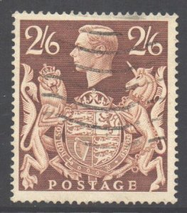 GB Scott 249- SG476, 1939 Dulac Arms 2/6d Brown used