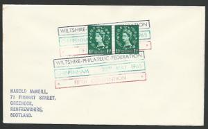 GB 1965 cover FIRST 3 COLOUR CANCEL, Wilts Fed Exhibition.........12055