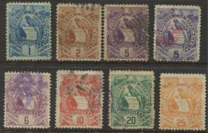 Guatemala - Scott 43-50 - Definitive Issue - 1886 -  MNG/Used - Set of 8 Stamps