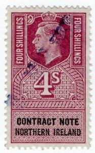 (I.B) George VI Revenue : Contract Note (Northern Ireland) 4/-