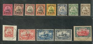 German Caroline Islands Sc#7-19 Used/VF, 15 Is Mint Many Signed, Cv. $939