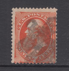 US Sc 160 used 1873 7c vermilion Edwin Stanton with Secret Mark