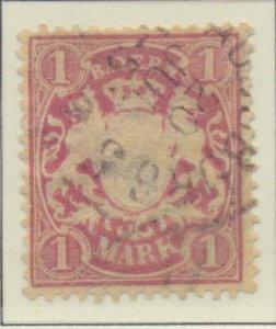 Bavaria (German State) Stamp Scott #54, Used, Hinge Remnant - Free U.S. Shipp...