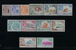 CYPRUS SCOTT #168-179  1955 QEII SHORT SET - MINT LIGHT  HINGED