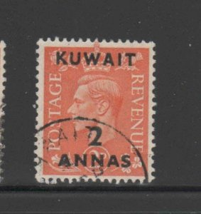 KUWAIT #75  1948  2a on 2p  KING GEORGE VI SURCHARGED   F-VF  USED  d