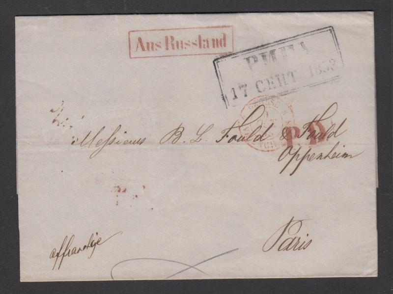 Russia, 1853 Stampless SFL, Riga-Paris, boxed black RIGA in Cyrillic