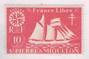 St Pierre and Miquelon 301 MLH Schooner 1942 (S0966)