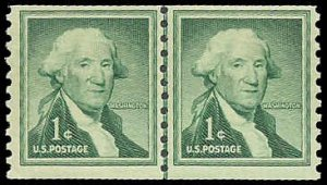 PCBstamps    US #1054 Line Pair 2c(2x1c)George Washington, MNH, (1)