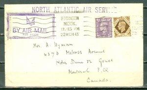 GREAT BRITAIN 1943 NORTH ATLANTIC AIR SERVICE COVER to CANADA