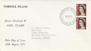 Norfolk Island #118A - FDC - 1971 QEII Coil