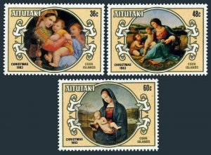 Aitutaki 315-317,MNH.Michel 499-501. Christmas 1983.Paintings by Raphael.