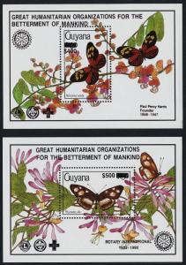 Guyana 2424-5 black o/p MNH Butterflies, Flowers, Rotary International
