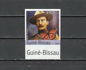 Guinea Bissau, 2004 issue. Scout Baden Powell & B/fly, IMPERF value from set.