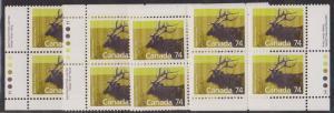Canada USC #1177 Mint 74c Wapiti, Harrison Paper MS of Imprint Blocks