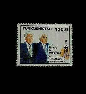 TURKMENISTAN #32, 1993, CLINTON VISIT, SINGLE, MNH, NICE! LQQK!