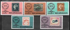 Nicaragua # 1038 - 1042  Wonderful set of stamps on stamps issued in 1976