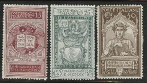 ITALY Scott 133-135 MH* 1921 Dante stamp set  CV $21.75