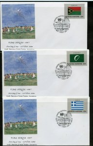 UN 1987 FLAGS WFUNA CACHET BY TONY BENNETT SET ON 16 FIRST DAY COVERS