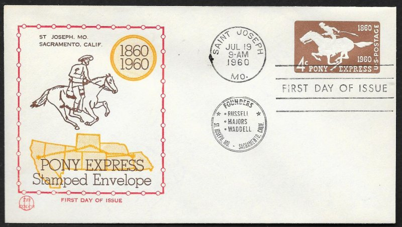 UNITED STATES FDC 4¢ Pony Express Envelope 1960 Tri Color