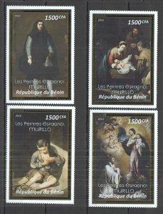 I0101 2016 BENIN ART SPANISH PAINTINGS MURILLO !!! GOLD RARE 4ST MNH