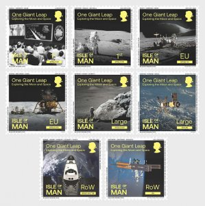 Isle of Man: Isle of Man 2020 One Giant Leap Exploring the Moon and Space 8v MNH