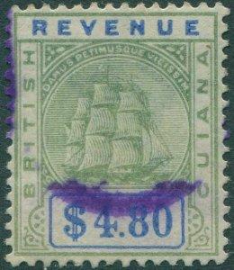 British Guiana revenue 1889 $4.80 blue and green Arms FU
