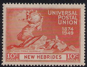 New Hebrides 1949 KGV1 10ct Orange Umm SG 64  ( R346 )